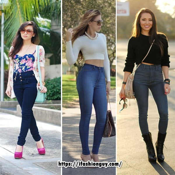 High Waisted Jeans With Crop Top