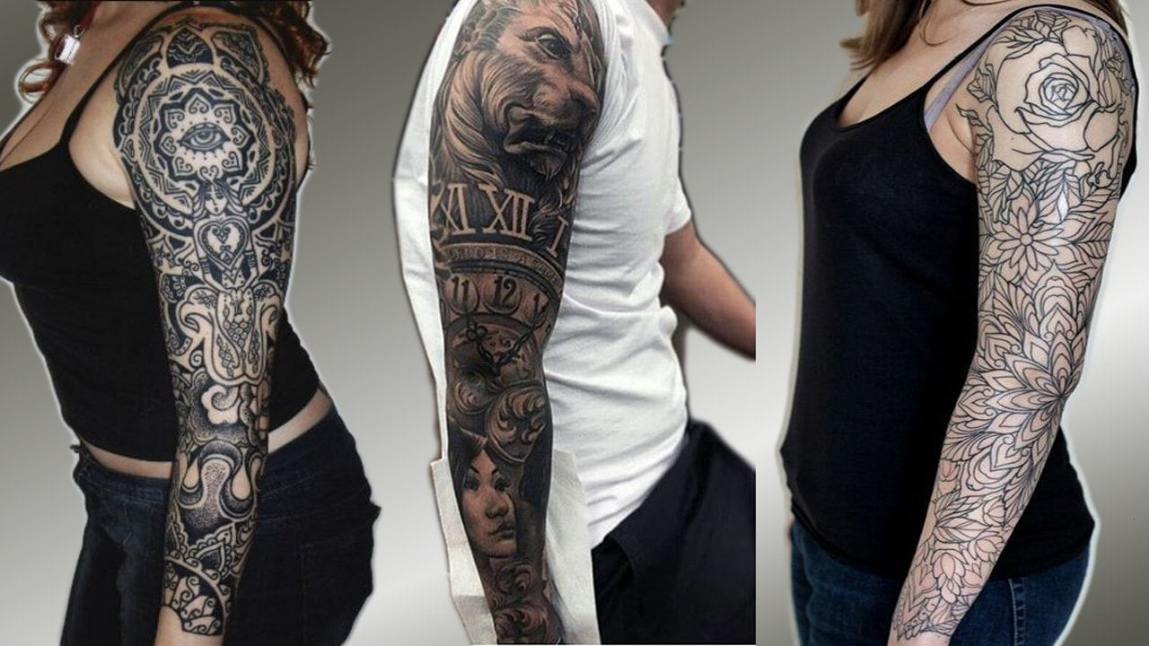 Full Sleeve Tattoos Black And Grey In 2019