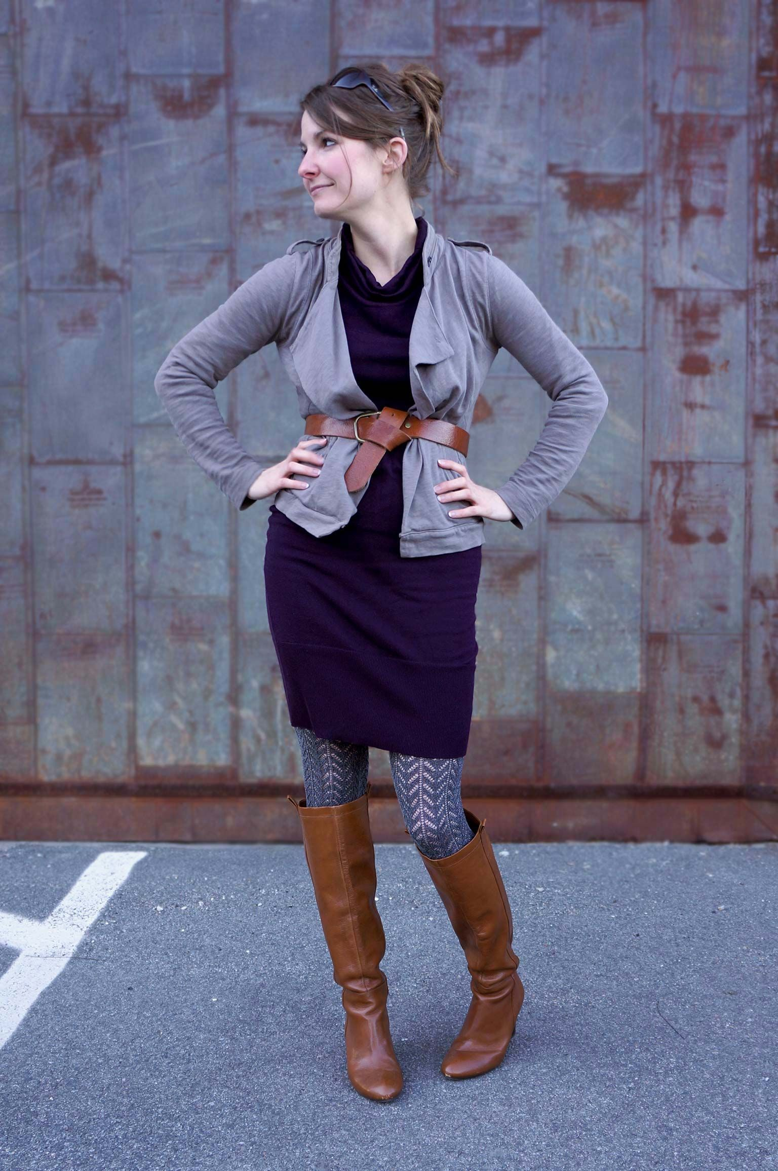 Belted Skirt and patterned tights