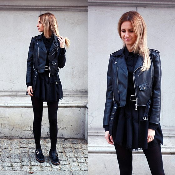 Black Dress and Leather Jacket for college party outfit