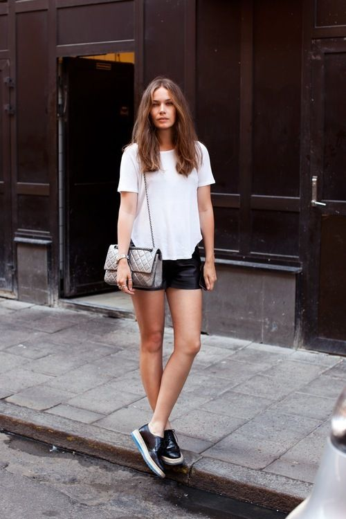 Black Shorts Combined With White T-Shirt for college party outfit
