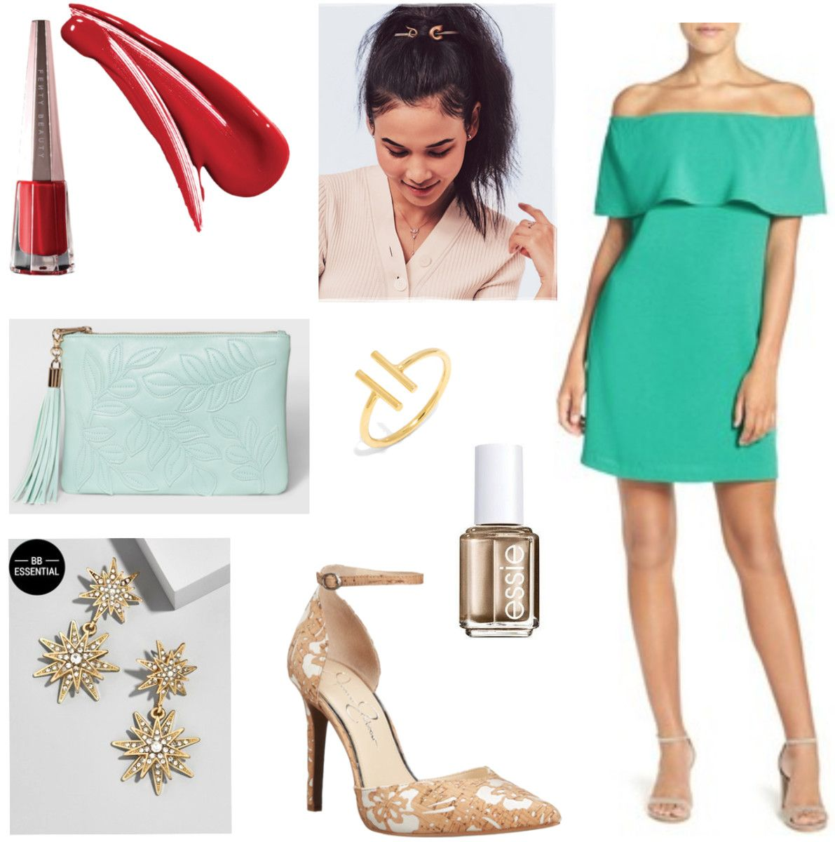 Green Off-Shoulder Dress For Cocktail and Dinner Parties