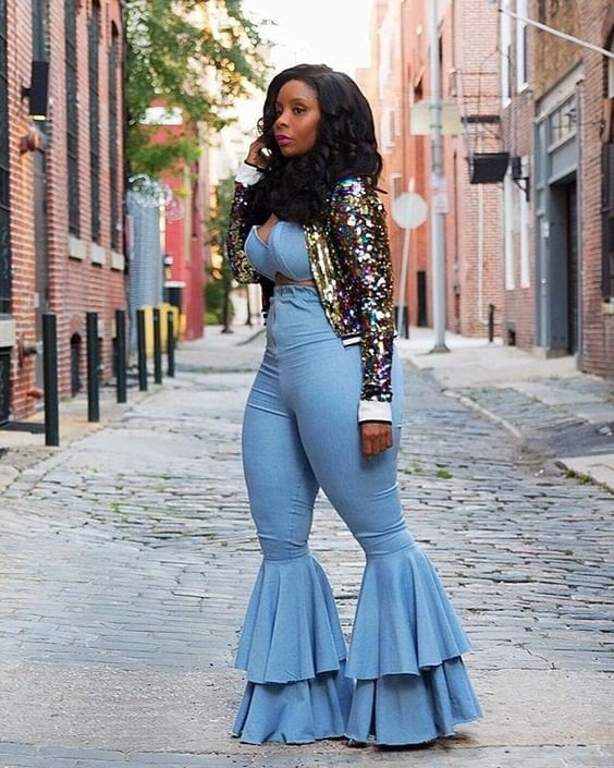 How to Style With Plus Size Flare Jeans,jazz plus size bell bottoms,