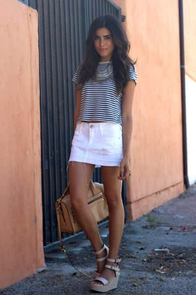 White Denim Skirt with black and white t shirt, white denim skirt