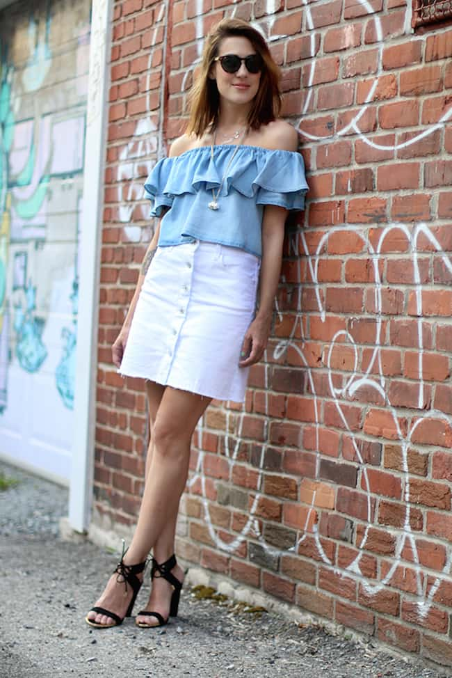 white denim skirt with off-shoulder,white denim skirt