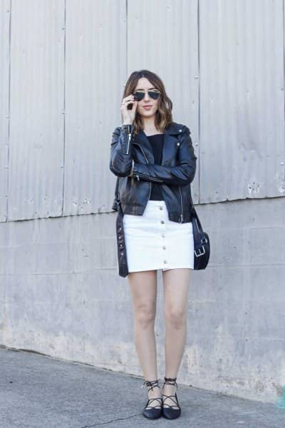 white denim skirt with black jacket