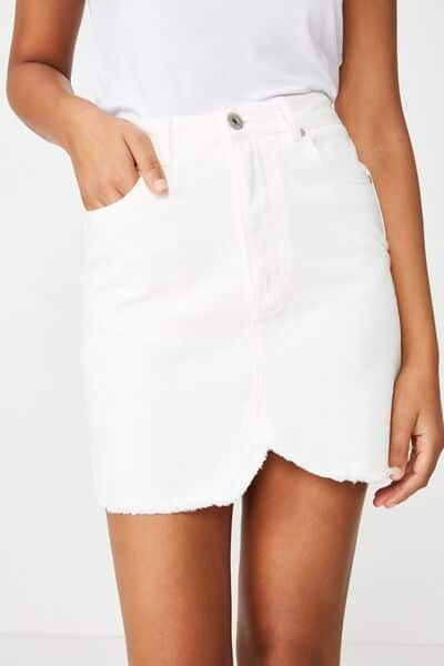white denim skirt with white shirt