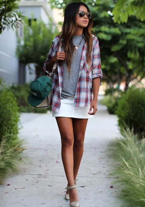 white denim skirt with checkered skirt, White denim skirt