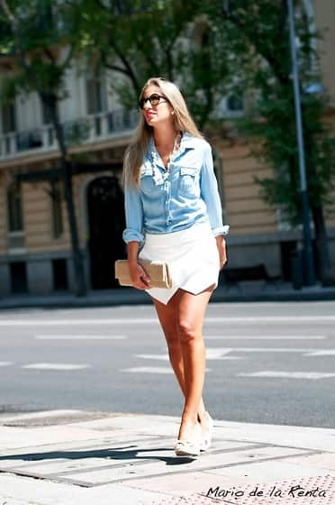 white denim skirt with denim shirt, white denim skirt