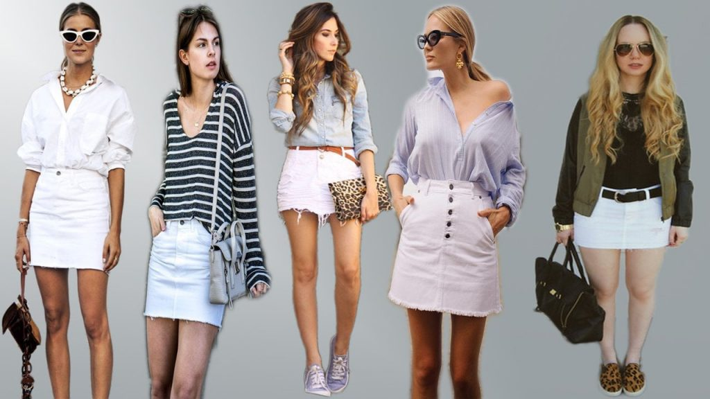 white denim skirts