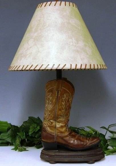 old shoes use as vintage lamp