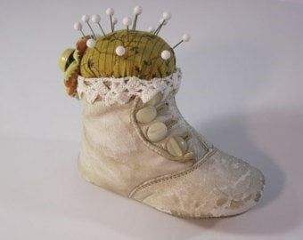 Pin Cushion in old shoes