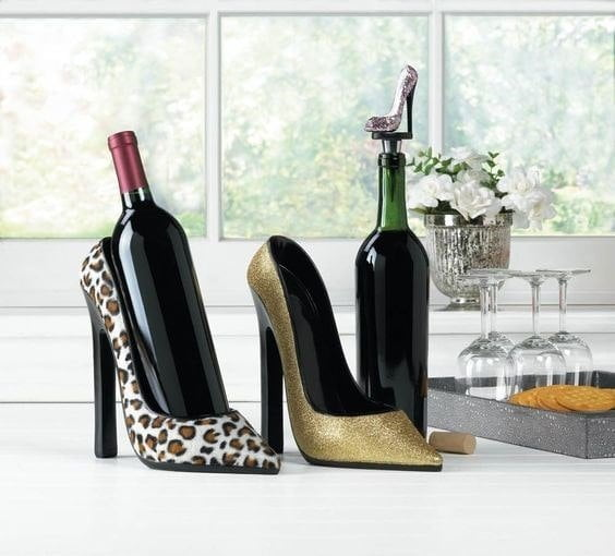 old shoes use as wine holder