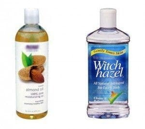 Almond Oil and Witch Hazel ,remove waterproof mascara